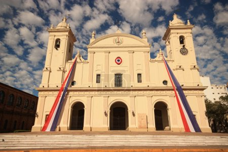 Catholic cathedral from front in Asuncion, Paraguay.