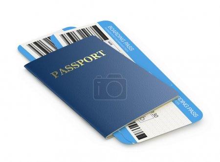 Photo pour Billets passeport et carte d'embarquement - image libre de droit