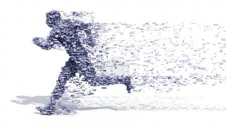 Foto de Hombre huyendo bloques - Imagen libre de derechos
