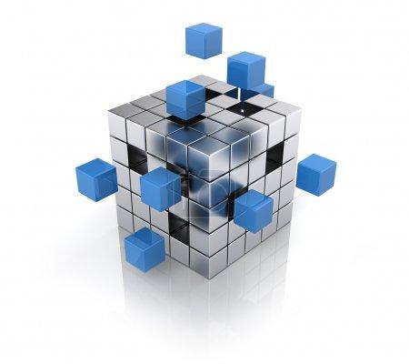 Photo pour Concept de travail d'équipe commercial - cube assembler des blocs - image libre de droit