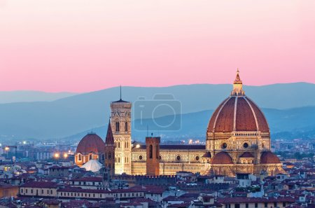 Florence Duomo in the evening pink sunlight