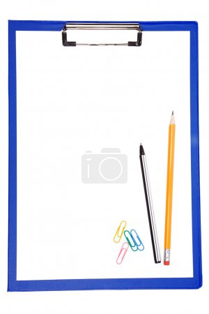 Blue clipboard with paper