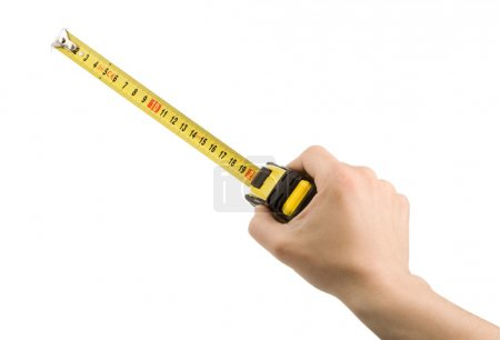 Hand and tape measure isolated on