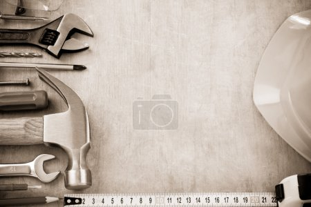 Photo for Set of tools and instruments on wood texture background - Royalty Free Image
