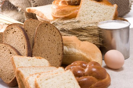 Bakery products and basket on sack