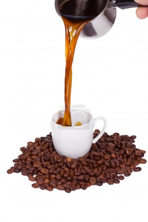 Pouring coffee drink
