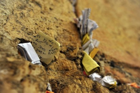 Notes to God in the wailing wall, Jerusalem, Israel