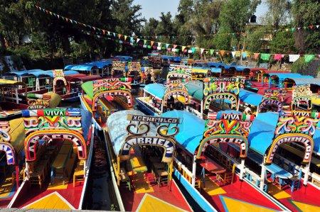 Photo pour Gondoles mexicaines colorées les jardins flottants de Xochimilco de Mexico. - image libre de droit