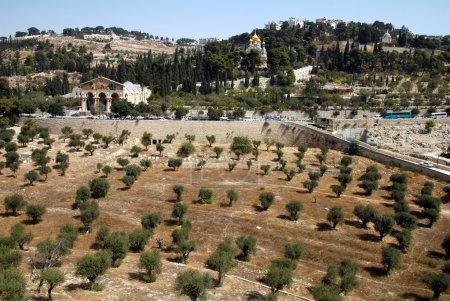 Photo pour Église de Gethsémani et de la paroisse st. mary magdalene Mont des oliviers à Jérusalem, Israël. - image libre de droit