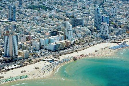 Aerial view of Tel-Aviv beach on the coastline of ...