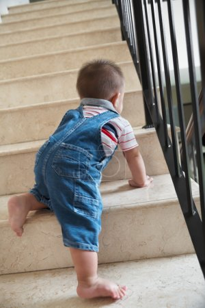Baby crawling alon on stairs