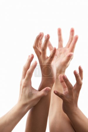 Reach out hand gesture from different skin tone