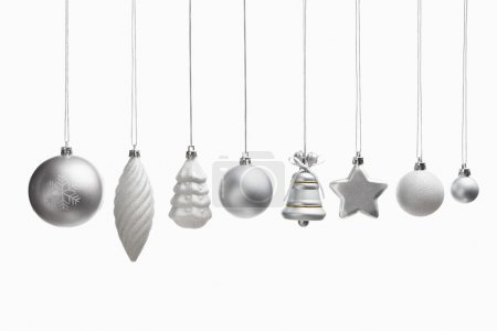 Silver set of Christmas ornaments