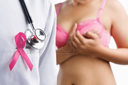 Photo for Doctor with pink badge and woman on pink bra on background, a aconcept for breast cancer - Royalty Free Image
