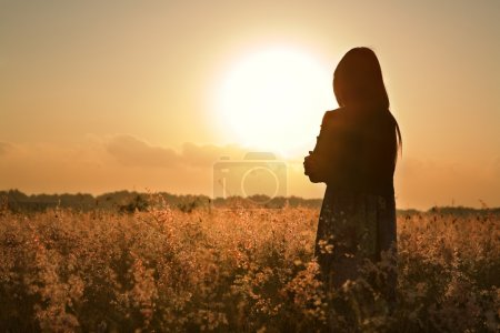 Photo for Woman silhouette waiting for summer sun on meadow - Royalty Free Image
