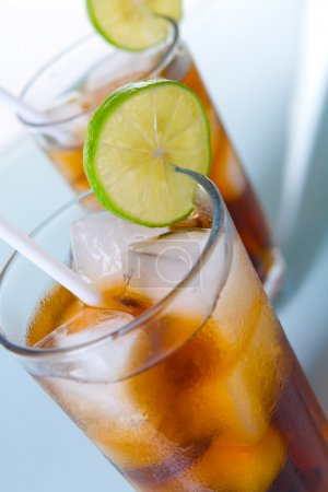 Two glass of soft drinks