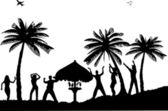 Dancers girls and boys on the beach at sunset enjoying a holiday cocktail party silhouette
