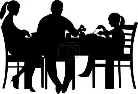 Illustration pour Famille ayant leur dîner à la silhouette de la table, un dans la série d'images similaires - image libre de droit
