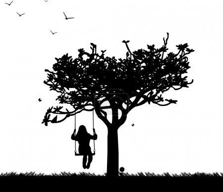 Girl on swing in park or garden in spring silhouette
