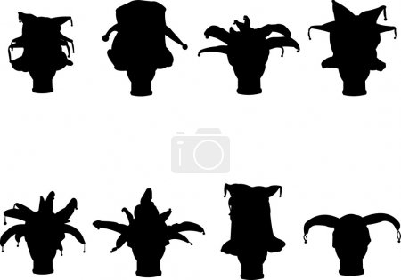 Detailed silhouette of a collection carnival caps