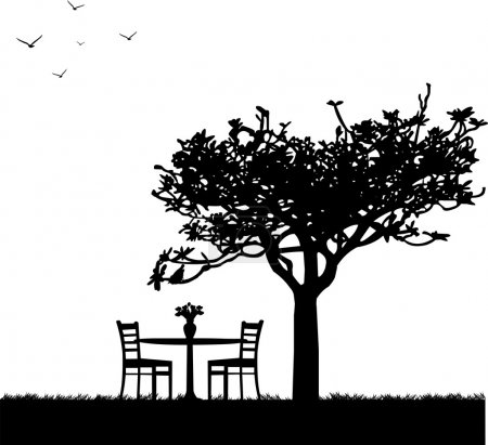 Illustration for Park in spring with table for two and tulips in a vase under a tree silhouette - Royalty Free Image
