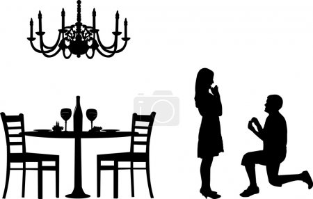Illustration pour Proposition romantique dans un restaurant le jour de la Saint-Valentin d'un homme demandant en mariage à une femme debout sur une silhouette à genoux, une dans la série d'images similaires - image libre de droit