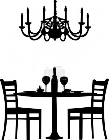 Illustration for Romantic dinner for two with table and two chairs, candle decoration and bottle of wine and old antique chandelier, silhouette isolated on white background - Royalty Free Image