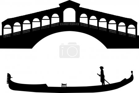 Silhouette of a Venetian gondola and the Rialto bridge in Italy
