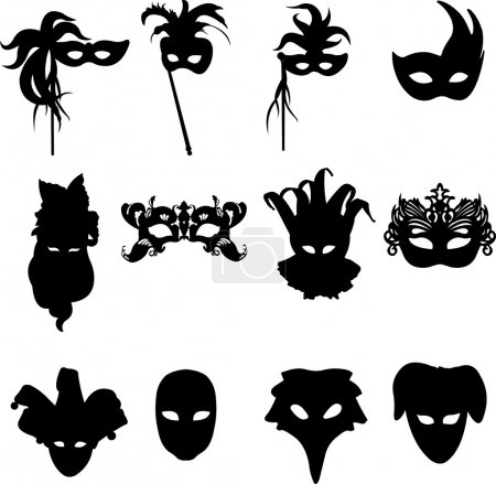Photo for Collection of carnival Venetian masks background silhouette - Royalty Free Image