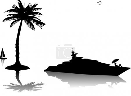 Young woman in bikini sunbathing on luxury yacht on the sea at sunny day silhouette