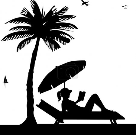 Silhouette of girl sunbathing and reading a book on the beach next to the palm tree