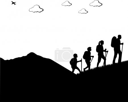 Illustration for Mountain climbing, hiking family with rucksacks silhouette, one in the series of similar images - Royalty Free Image