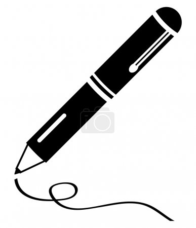 Illustration for Pen black icon - blogging, writing article, signing contract and documents, creative writing concept. - Royalty Free Image