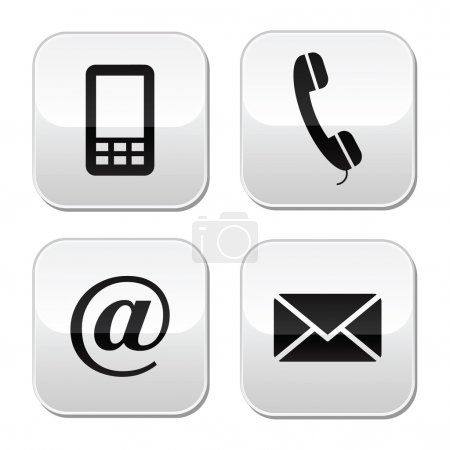 Contact buttons set - email, envelope, phone, mobile icons