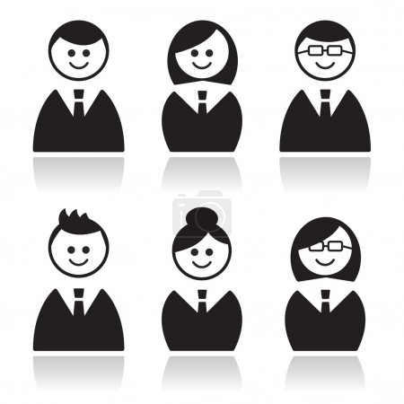 Illustration for Businessman, businesswoman, office black glossy icons set. - Royalty Free Image