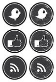Social media retro labels - facebook twitter rss