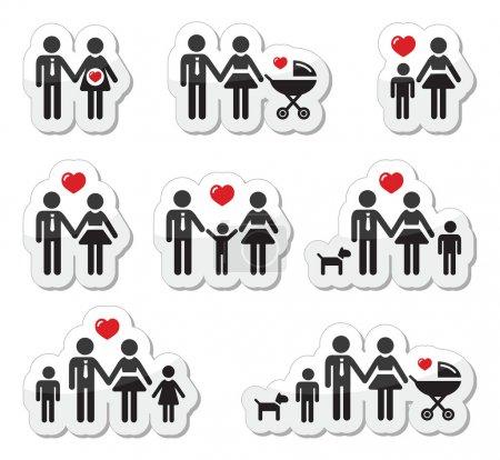 ikony - rodzina, dziecko, kobieta w ciąży, pary
