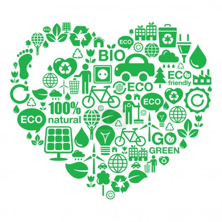 Illustration for I love ecology, recycling, footprint, green power concept. - Royalty Free Image