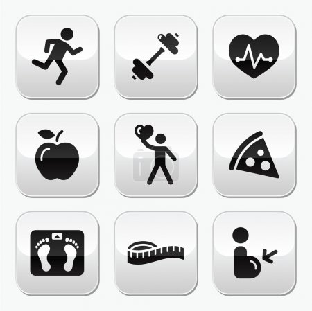 Keep fit and healthy icons on glossy buttons