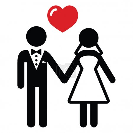 Newlywed couple black simple icon with heart...