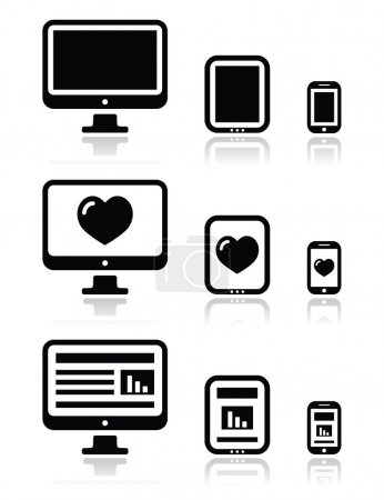 Responsive website design - computer screen, mobile, tablet icons set