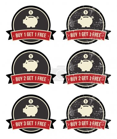 Buy 1 Get 1 Free retro grunge badges set