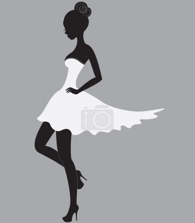 Illustration for Young beautiful dancer girl in white dress - Royalty Free Image
