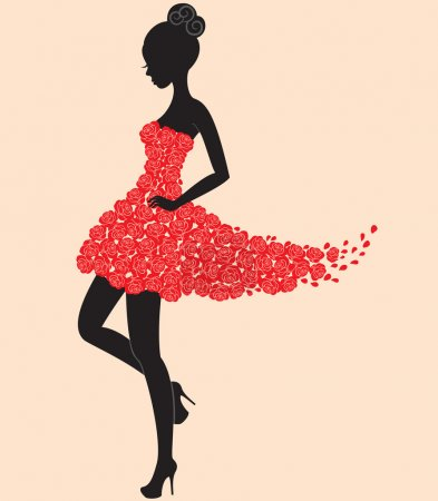 Illustration for Young beautiful dancer girl in dress of roses - Royalty Free Image