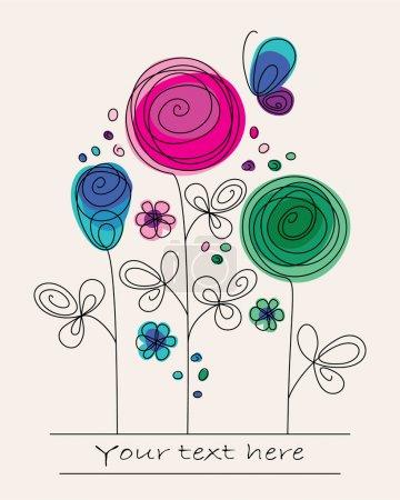 Illustration pour Funny illustration colorée avec fleurs abstraites et papillon - image libre de droit