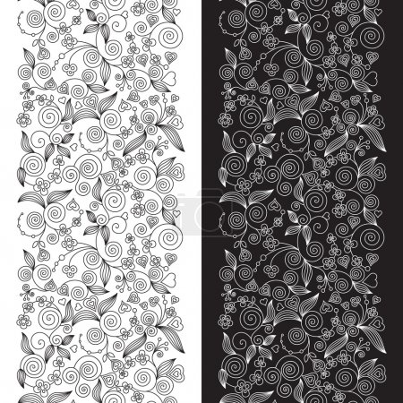 Decorative flower seamless patterns
