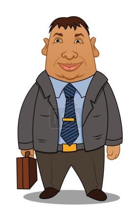 Cartoon businessman with a case