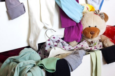 Photo for Messy child room with cloth in the drawer - Royalty Free Image
