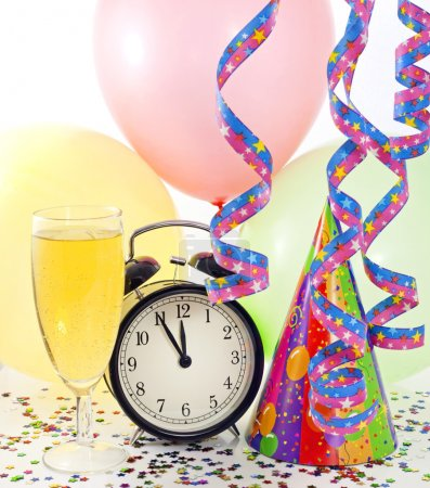 New year party with clock balloons champagne and clock