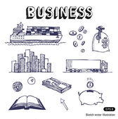 Hand drawn business finance and transportation icon set